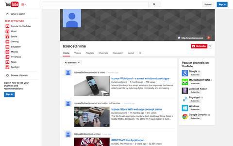 Screenshot of YouTube Page youtube.com - IxonosOnline  - YouTube - captured Oct. 25, 2014