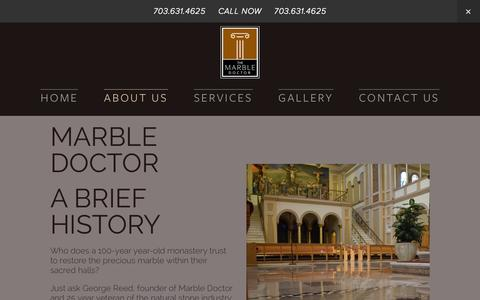Screenshot of About Page marbledoctorva.com - About Us — Marble Restoration, Refinishing, and Repair Contractor - captured Nov. 3, 2014