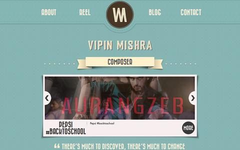 Screenshot of Home Page Blog About Page Contact Page vipinmishra.com - Vipin Mishra   Composer - captured Oct. 1, 2014