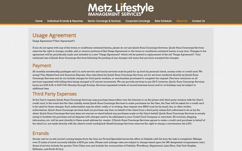 Screenshot of Terms Page quick-runs.com - Contact Metz Lifestyle management Services - Oakdale MN | 800-436-6613 - captured Nov. 2, 2014