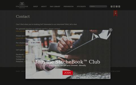 Screenshot of Contact Page stacheandhyde.com - Contact Stache & Hyde | Stache & Hyde - captured Oct. 24, 2017