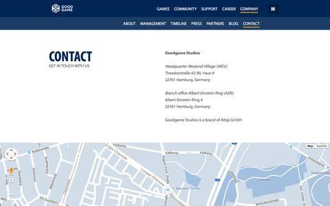 Screenshot of Contact Page goodgamestudios.com - Contact | Goodgame Studios - captured Jan. 12, 2016