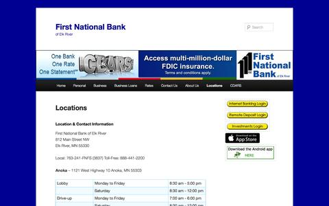 Screenshot of Locations Page fnber.com - Locations | First National Bank - captured Oct. 6, 2014