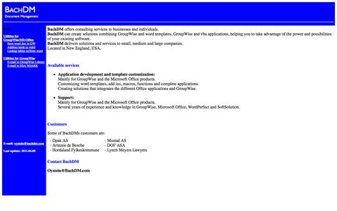 Screenshot of Home Page bachdm.com - BachDM document management - captured Sept. 30, 2014