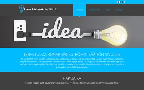 Screenshot of Home Page runarbackstrominsaatio.fi - Home - Runar Bäckströmin Säätiö - captured Sept. 17, 2015
