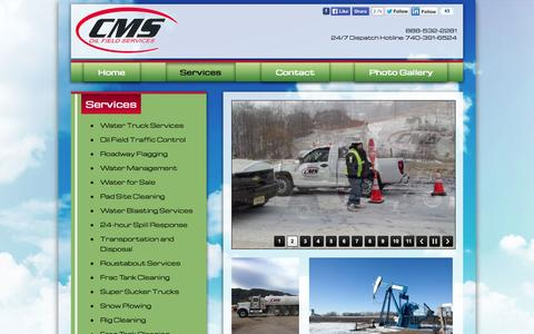 Screenshot of Services Page cmsoilfieldservices.com - CMS Oil Field Services - captured Sept. 26, 2014