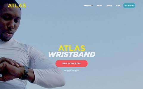 Screenshot of Home Page atlaswearables.com - Atlas Wearables | Atlas Wristband | Fitness Tracker - captured Dec. 10, 2015