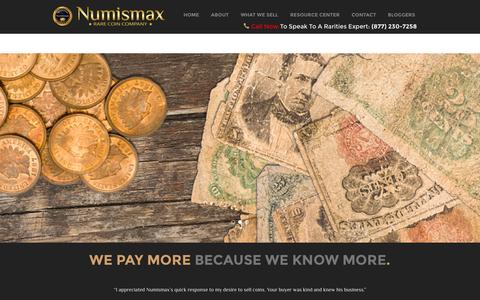 Screenshot of Home Page numismax.com - Home - captured Sept. 25, 2014