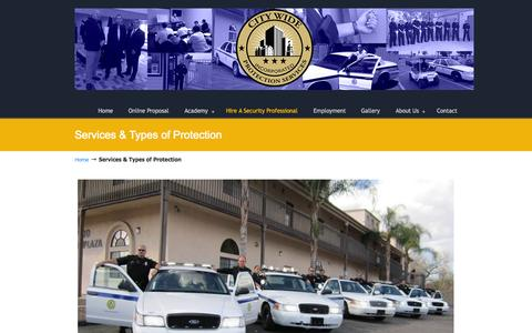 Screenshot of Services Page sandiegosecurityguards.com - Services & Types of Protection - San Diego Security Guards San Diego Security Guards - captured Oct. 2, 2014