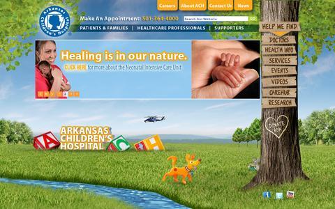 Screenshot of Home Page archildrens.org - Pediatric Health Care | Arkansas Children's Hospital | Little Rock, Arkansas - captured July 11, 2014