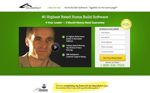 Screenshot of Landing Page co-construct.com - Home Build Software - captured Oct. 27, 2014