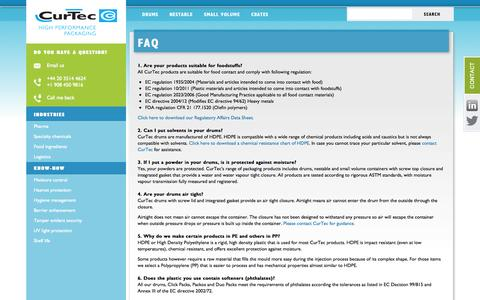 Screenshot of FAQ Page curtec.com - FAQ - CurTec - captured Oct. 3, 2014