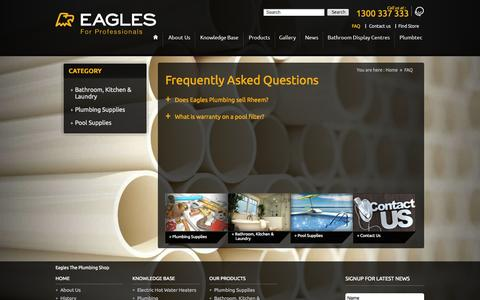 Screenshot of FAQ Page eaglesplumbingshop.com.au - FAQ - Eagles The Plumbing Shop - captured Oct. 1, 2014