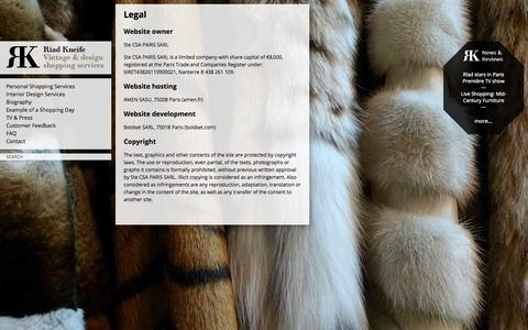Screenshot of Terms Page kneife.com - Legal | Riad Kneife - captured Oct. 1, 2014