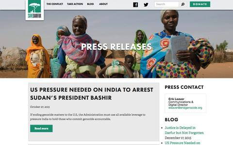 Screenshot of Press Page savedarfur.org - Save Darfur - Press Releases - captured Feb. 4, 2016