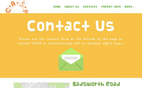 Screenshot of Contact Page caspuk.org - Contact C.A.S.P Team - Camberwell After School Project - captured July 12, 2017