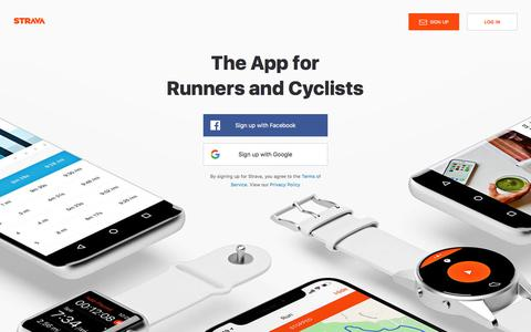 Screenshot of Home Page strava.com - Strava | Run and Cycling Tracking on the Social Network for Athletes - captured March 28, 2018
