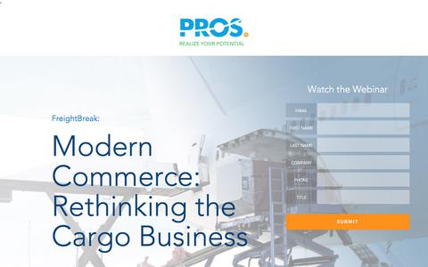 Screenshot of Landing Page pros.com - Modern Commerce: Rethinking the Air Cargo Business | PROS Webinars | PROS - captured March 29, 2018