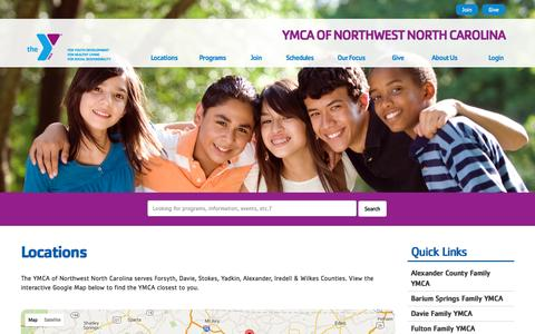 Screenshot of Locations Page ymcanwnc.org - Locations - YMCA of Northwest North Carolina - captured Feb. 3, 2016
