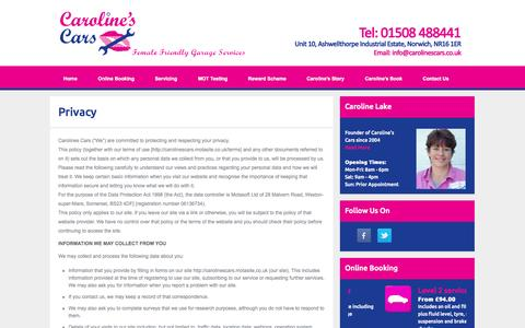 Screenshot of Privacy Page carolinescars.co.uk - Caroline's Cars - Female Friendly MOT Garage Services in Norwich - Privacy - captured Oct. 28, 2014