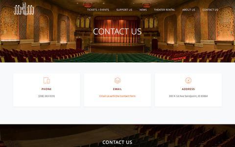 Screenshot of Contact Page panida.org - The Panida Theater | Contact Us - captured April 29, 2017