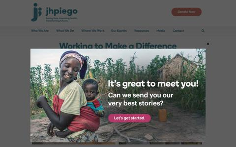 Screenshot of Jobs Page jhpiego.org - Careers | Jhpiego - captured Sept. 20, 2018