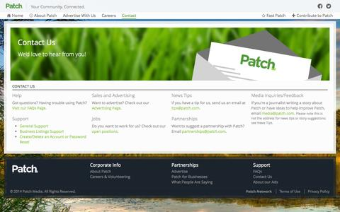 Screenshot of Contact Page patch.com - Contact Us | How to reach us | Patch - captured Oct. 28, 2014