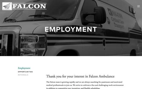 Screenshot of Jobs Page falconambulance.com - opportunities — Falcon Ambulance - captured Aug. 12, 2018