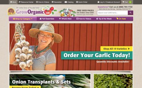 Screenshot of Home Page groworganic.com - Garden Tools | Organic Seeds | Organic Fertilizer | Garden Supplies | Organic Gardening Supplies - captured Oct. 16, 2015