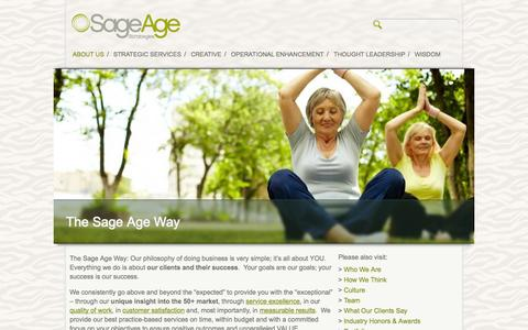 Screenshot of About Page sageagestrategies.com - The Sage Age Way | Sage Age Strategies - captured Sept. 30, 2014
