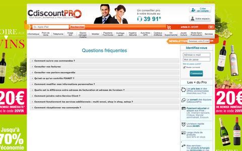 Screenshot of FAQ Page cdiscountpro.com - CdiscountPro, tout pour l'entreprise à prix discount - captured Sept. 19, 2014