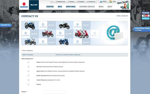 Screenshot of Contact Page suzukimotorcycle.co.in - Contact Us | Suzuki Motorcycle India  Ltd. - captured Oct. 31, 2014