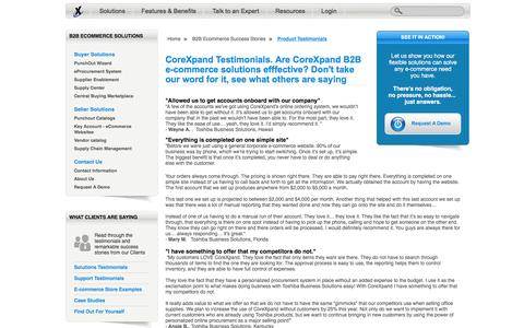 Screenshot of Testimonials Page corexpand.com - B2B   See why others rave about CoreXpand's e-commerce solutions - captured Dec. 12, 2015