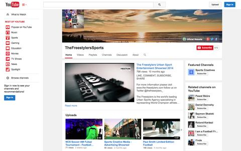 Screenshot of YouTube Page youtube.com - TheFreestylersSports  - YouTube - captured Oct. 26, 2014