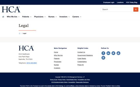 Screenshot of Privacy Page Terms Page hcahealthcare.com - Legal | HCA Healthcare - captured Jan. 24, 2019
