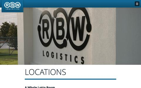 Screenshot of Locations Page rbwlogistics.com - RBW Logisitics Service and Warehouse Locations - captured Feb. 22, 2016