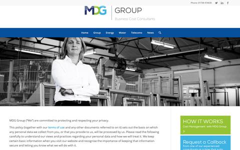 Screenshot of Privacy Page mdggroup.co.uk - Privacy Policy – MDG Group - captured Nov. 6, 2018