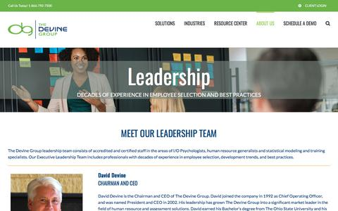 Screenshot of Team Page devinegroup.com - The Devine Group Leadership - captured July 11, 2018