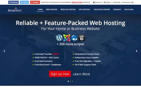 Screenshot of Home Page amerinoc.com - AmeriNOC.com - CDN, Shared, Reseller, VPS and Dedicated Web Hosting Services - captured Sept. 24, 2014