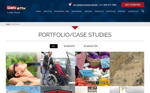 Screenshot of Case Studies Page webstix.com - Madison WI Website Design and Development Portfolio - captured Oct. 10, 2018