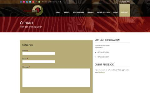 Screenshot of Contact Page martinmeyer-safaris.com - Contact Martin Meyer Safaris - captured Oct. 27, 2014
