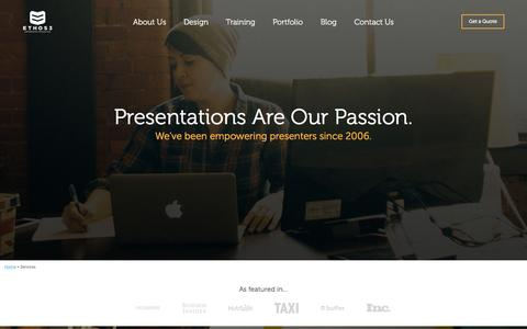 Screenshot of Services Page ethos3.com - Presentation Services | Ethos3 - captured Oct. 20, 2015