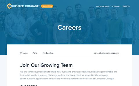 Screenshot of Jobs Page computercourage.com - Careers - Computer Courage - captured July 21, 2018