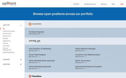 Screenshot of Jobs Page upfront.com - Jobs - Upfront Ventures - captured Sept. 25, 2014