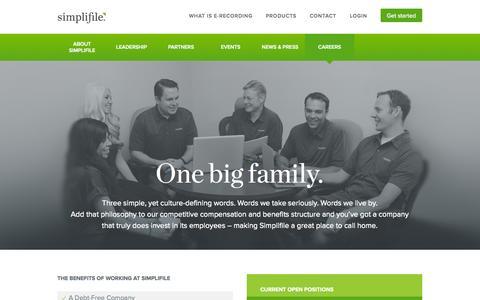 Screenshot of Jobs Page simplifile.com - Simplifile Jobs: A Simplifile Career. Simplifile Jobs. - captured Sept. 19, 2014