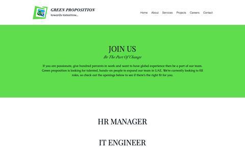 Screenshot of Jobs Page greenproposition.com - Careers | Dubai - United Arab Emirates | Green Proposition - captured Dec. 16, 2018