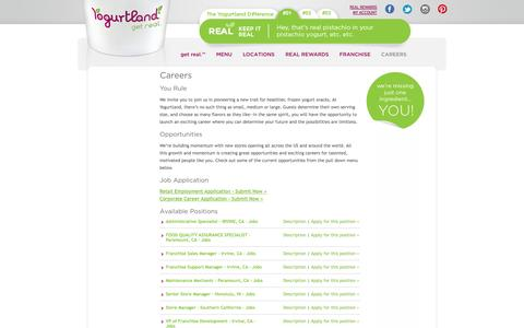 Screenshot of Jobs Page yogurt-land.com - Jobs, Careers, Job Posting, Benefits, Job Listings  | Yogurtland - captured Sept. 25, 2014