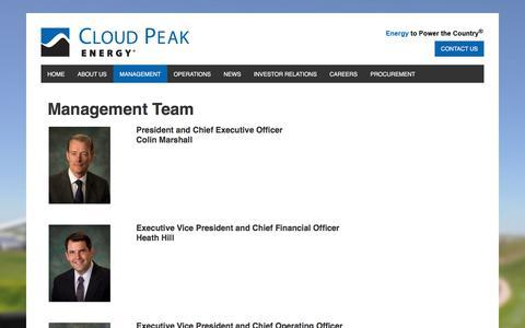 Screenshot of Team Page cloudpeakenergy.com - Management Team — Cloud Peak Energy - captured July 19, 2018