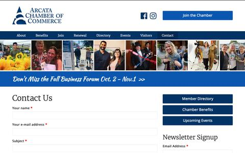 Screenshot of Contact Page arcatachamber.com - Contact Us | Arcata Chamber of Commerce - captured Oct. 4, 2018