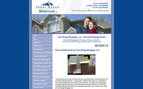 Screenshot of Testimonials Page frontrangemortgage.com - Colorado Mortgage Broker - Front Range Mortgage - Denver & Colorado Springs - captured Oct. 14, 2017